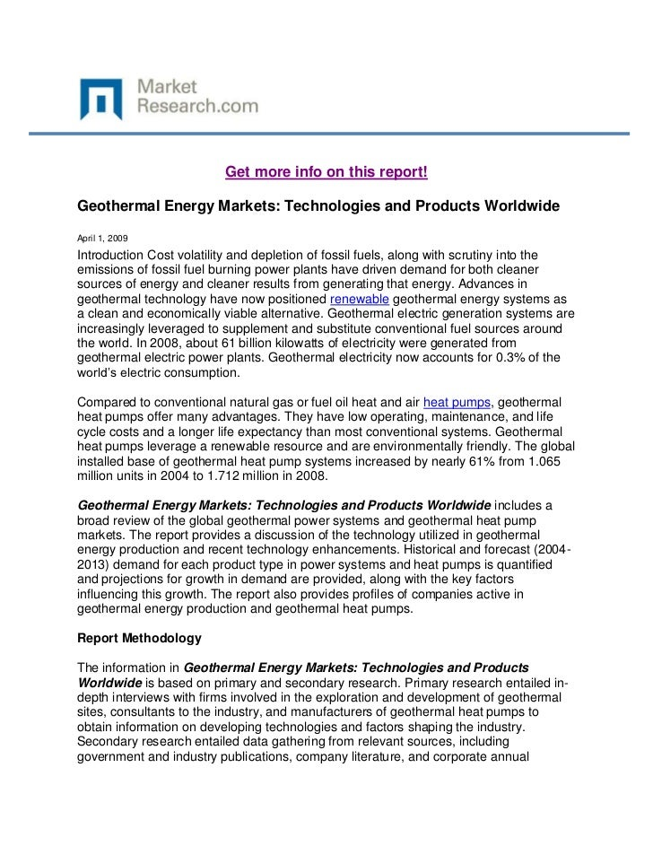 Get more info on this report!Geothermal Energy Markets: Technologies and Products WorldwideApril 1, 2009Introduction Cost ...