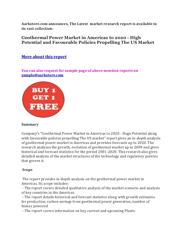 Aarkstore.com announces, The Latest market research report is available inits vast collection:Geothermal Power Market in A...