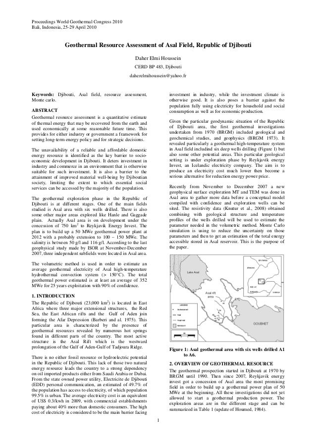 Proceedings World Geothermal Congress 2010 Bali, Indonesia, 25-29 April 2010 1 Geothermal Resource Assessment of Asal Fiel...