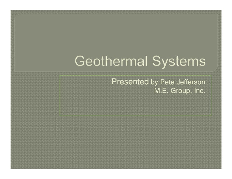 Geothermal /  Geoexchange Systems