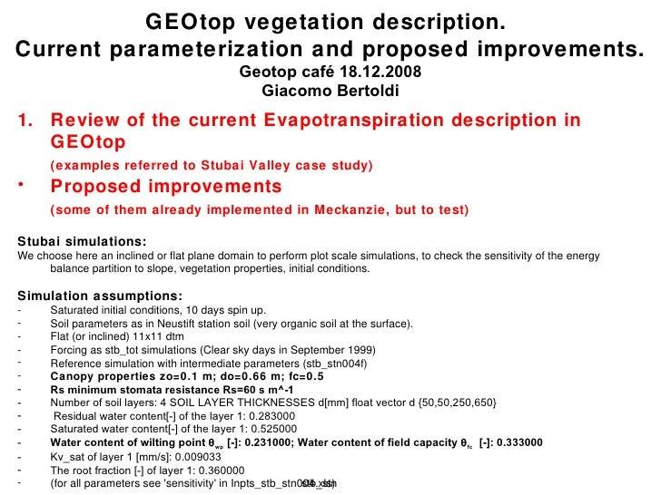 GEOtop vegetation description.  Current parameterization and proposed improvements. Geotop café  18.12.2008 Giacomo Bertol...