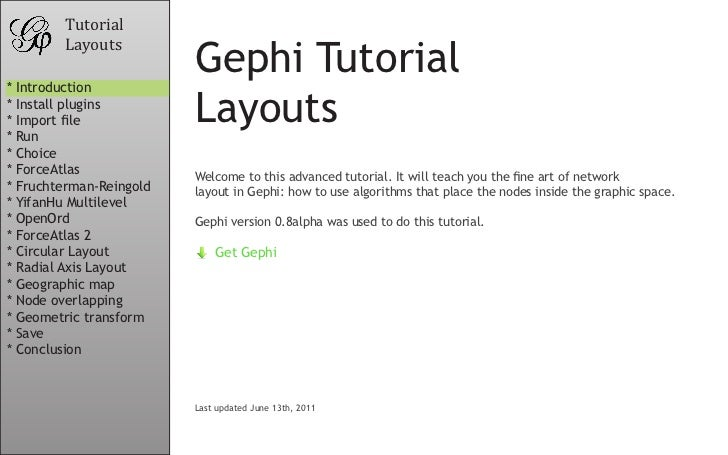 Tutorial        Layouts* Introduction                         Gephi Tutorial* Install plugins* Import file* Run           ...