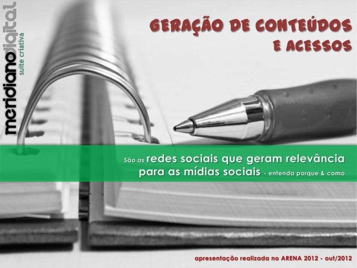 Geração de Conteúdos e Acessos: Mídias Sociais