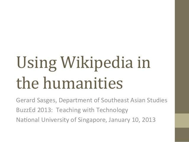 Wikipedia as a teaching tool in humanities modules