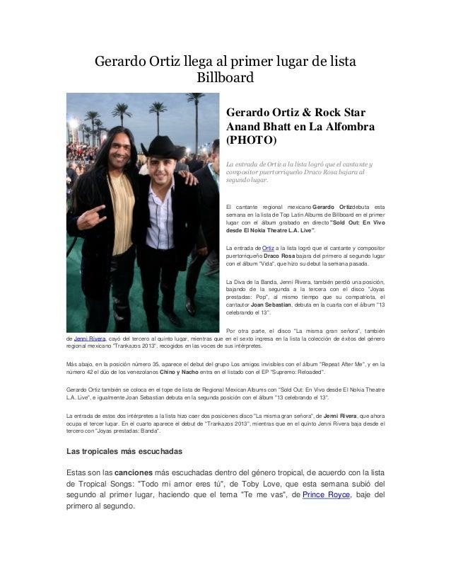 Gerardo Ortiz llega al primer lugar de lista                            Billboard                                         ...