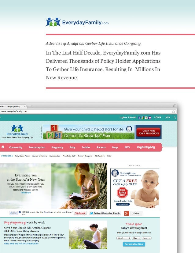 Advertising Analytics: Gerber Life Insurance Company In The Last Half Decade, EverydayFamily.com Has Delivered Thousands o...