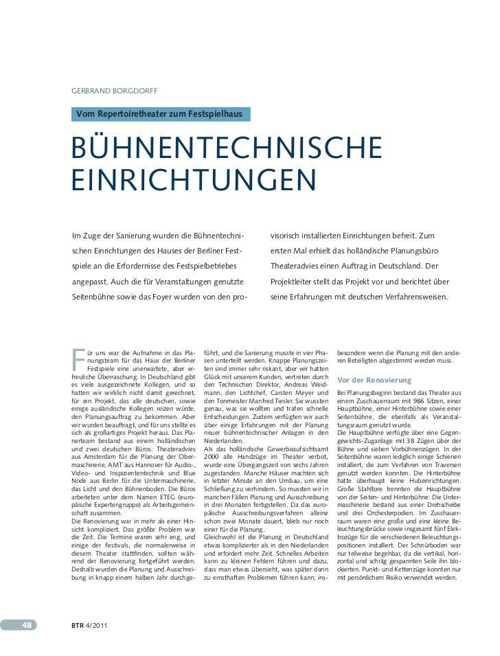 Gerbrand borGdorff      Vom Repertoiretheater zum Festspielhaus     bühnentechnische     einrichtunGen     im Zuge der san...