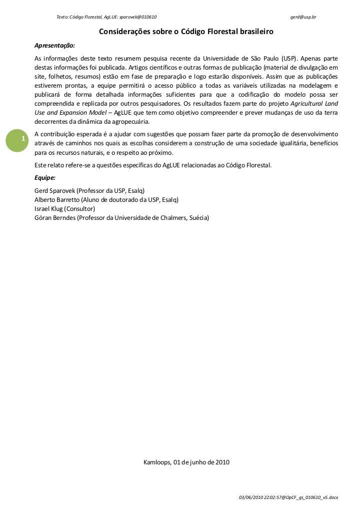 Texto: Código Florestal, AgLUE: sparovek@010610                                              gerd@usp.br                  ...