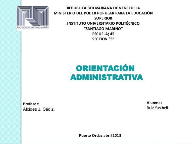 REPUBLICA BOLIVARIANA DE VENEZUELAMINISTERIO DEL PODER POPULAR PARA LA EDUCACIÓNSUPERIORINSTITUTO UNIVERSITARIO POLITÉCNIC...