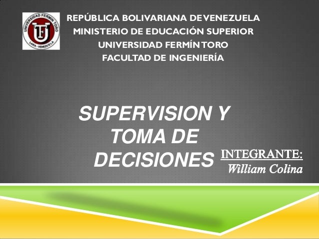 REPÚBLICA BOLIVARIANA DE VENEZUELA MINISTERIO DE EDUCACIÓN SUPERIOR      UNIVERSIDAD FERMÍN TORO       FACULTAD DE INGENIE...