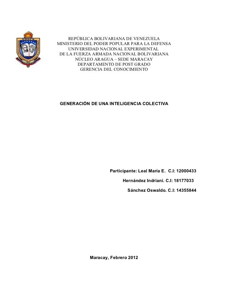 REPÚBLICA BOLIVARIANA DE VENEZUELAMINISTERIO DEL PODER POPULAR PARA LA DEFENSA     UNIVERSIDAD NACIONAL EXPERIMENTAL DE LA...