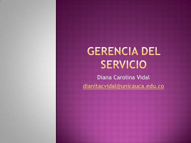 gerencia del servicio: