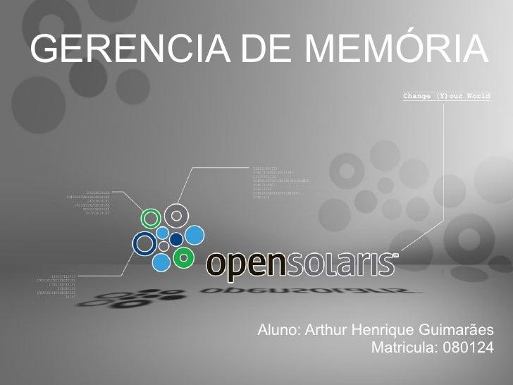 Gerencia de Memória Opensolaris