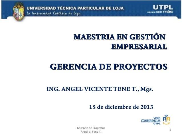 MAESTRIA EN GESTIÓN EMPRESARIAL  GERENCIA DE PROYECTOS ING. ANGEL VICENTE TENE T., Mgs. 15 de diciembre de 2013 Gerencia d...