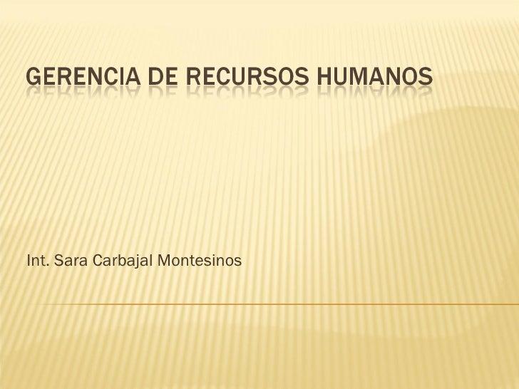 Int. Sara Carbajal Montesinos