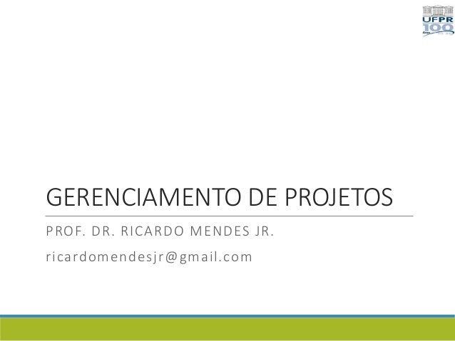 GERENCIAMENTO DE PROJETOS PROF. DR. RICARDO MENDES JR. ricardomendesjr@gmail.com