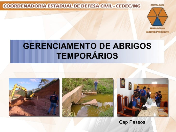 GERENCIAMENTO DE ABRIGOS TEMPORÁRIOS Cap Passos
