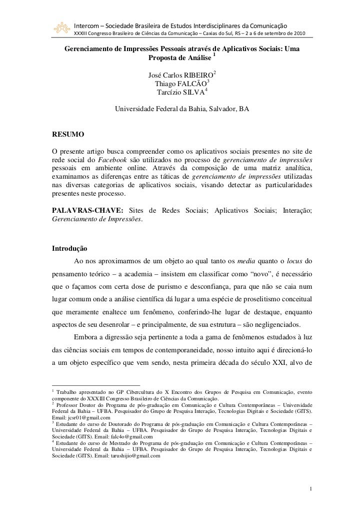 Gerenciamento de impressões pessoais através de aplicativos sociais: uma proposta de análise