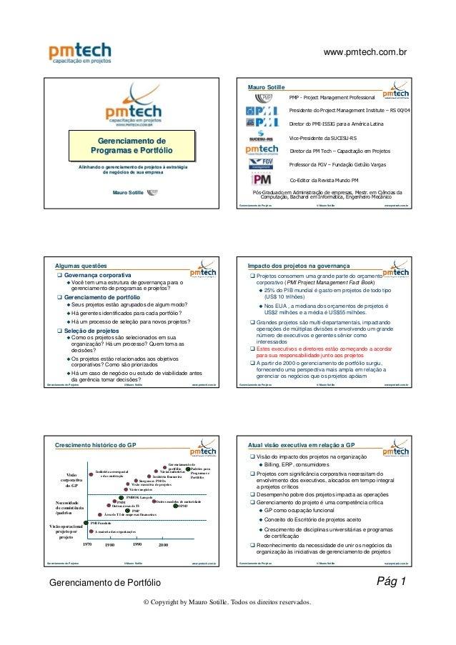 Gerenciamento de programas e portfólio de projetos