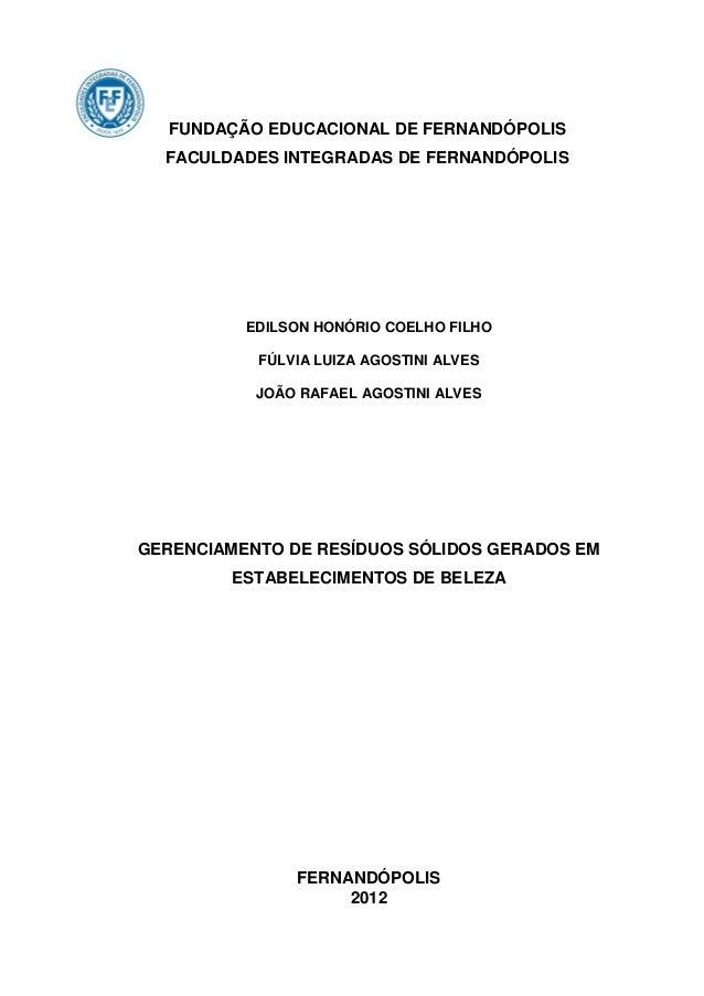FUNDAÇÃO EDUCACIONAL DE FERNANDÓPOLIS  FACULDADES INTEGRADAS DE FERNANDÓPOLIS          EDILSON HONÓRIO COELHO FILHO       ...