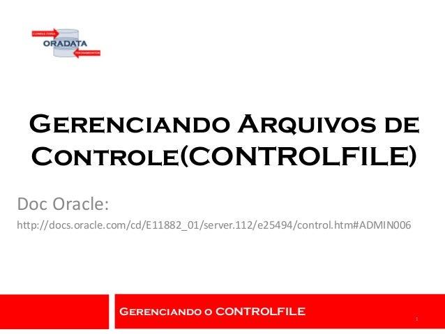 Gerenciando o CONTROLFILE Gerenciando Arquivos de Controle(CONTROLFILE) Doc Oracle: http://docs.oracle.com/cd/E11882_01/se...