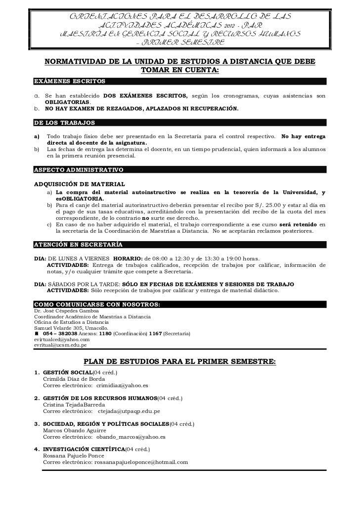 ORIENTACIONES PARA EL DESARROLLO DE LAS                  ACTIVIDADES ACADÉMICAS 2012 - PAR         MAESTRÍA EN GERENCIA SO...