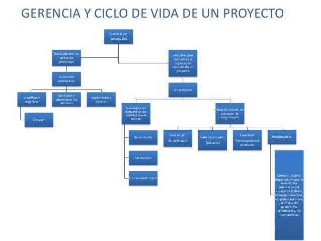 GERENCIA Y CICLO DE VIDA DE UN PROYECTO Gerecia de proyectos Realizado por un gestor de proyectos su función principal es ...