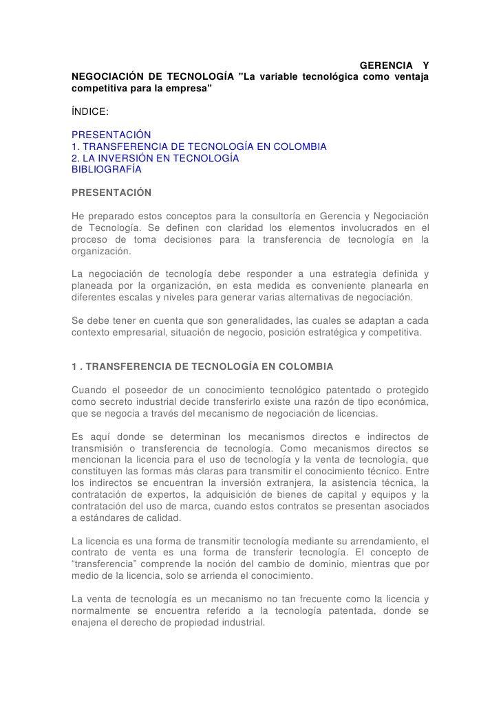 """GERENCIA Y NEGOCIACIÓN DE TECNOLOGÍA """"La GERENCIA YNEGOCIACIÓN DE TECNOLOGÍA """"La variable tecnológica como ventajacompetit..."""