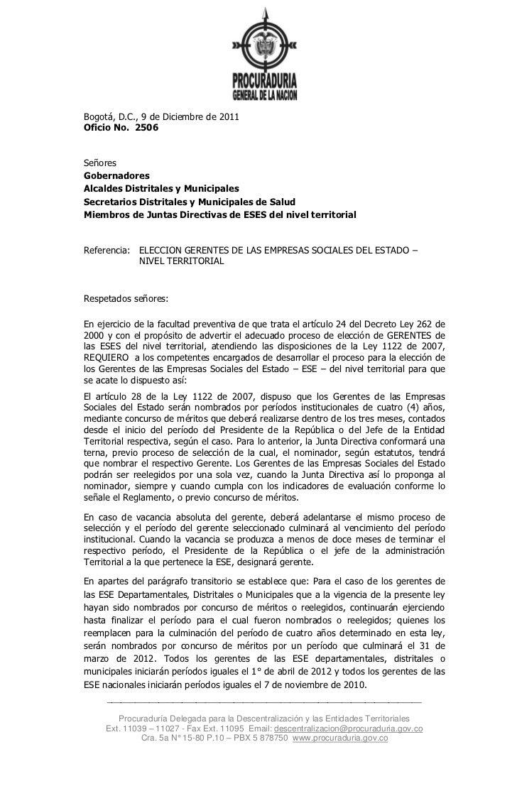 Bogotá, D.C., 9 de Diciembre de 2011Oficio No. 2506SeñoresGobernadoresAlcaldes Distritales y MunicipalesSecretarios Distri...