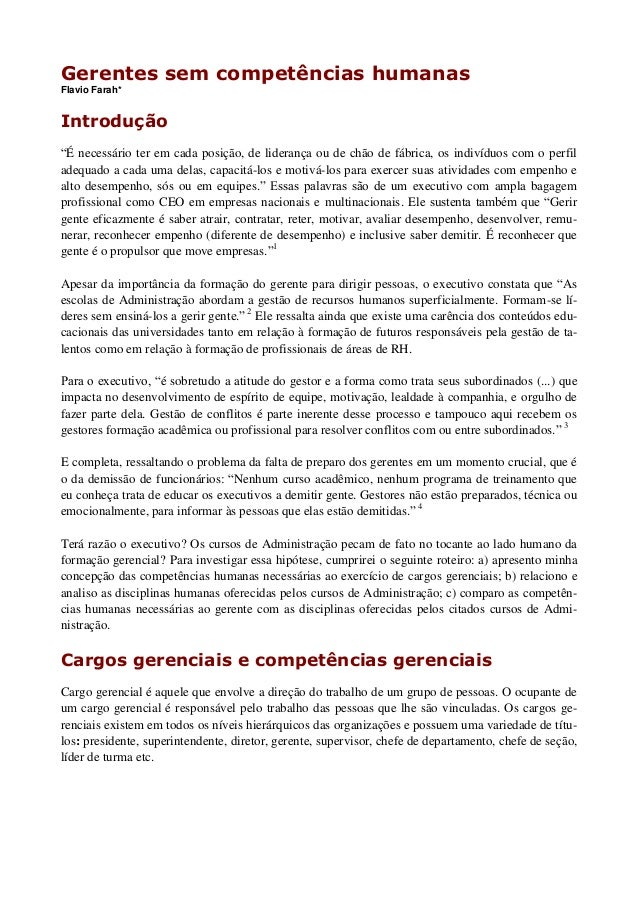 """Gerentes sem competências humanas Flavio Farah* Introdução """"É necessário ter em cada posição, de liderança ou de chão de f..."""