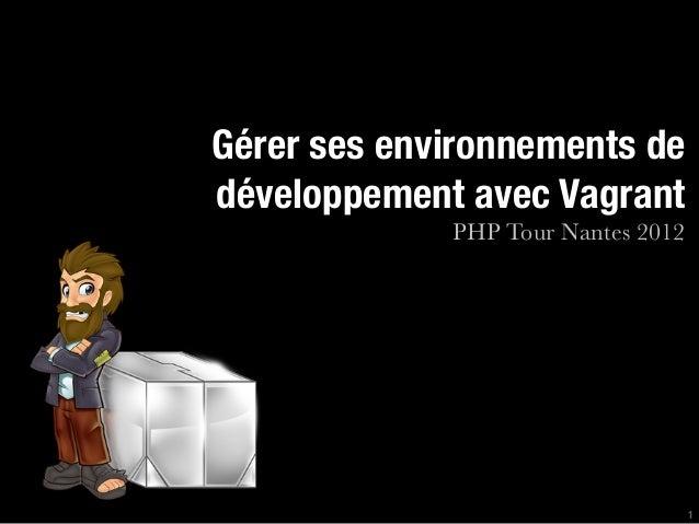 Gérer ses environnements dedéveloppement avec Vagrant             PHP Tour Nantes 2012                                    1
