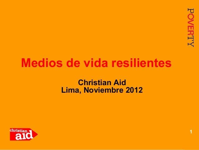 Medios de vida resilientes          Christian Aid      Lima, Noviembre 2012                             1