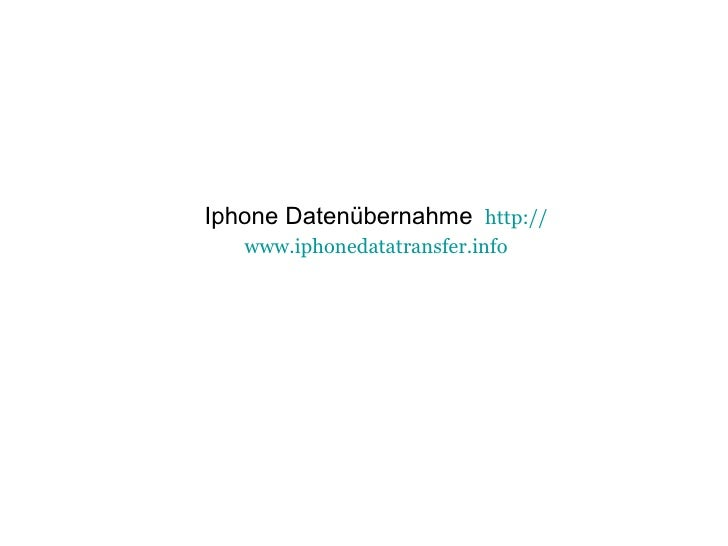Iphone Datenübernahme