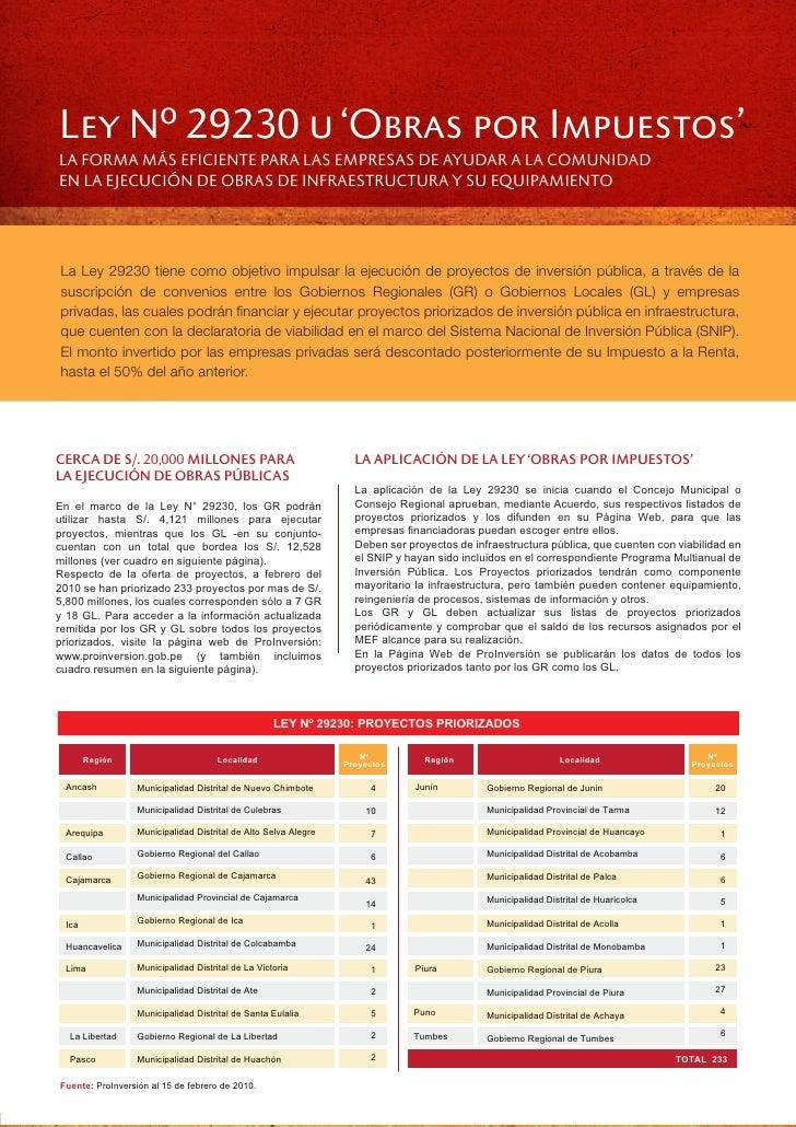 Ley Nº 29230 u 'Obras por Impuestos' LA FORMA MÁS EFICIENTE PARA LAS EMPRESAS DE AYUDAR A LA COMUNIDAD EN LA EJECUCIÓN DE ...