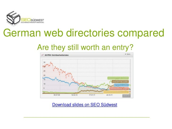 German web directories compared      Are they still worth an entry?          Download slides on SEO Südwest