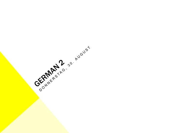 German 2 august 30 lesson plan