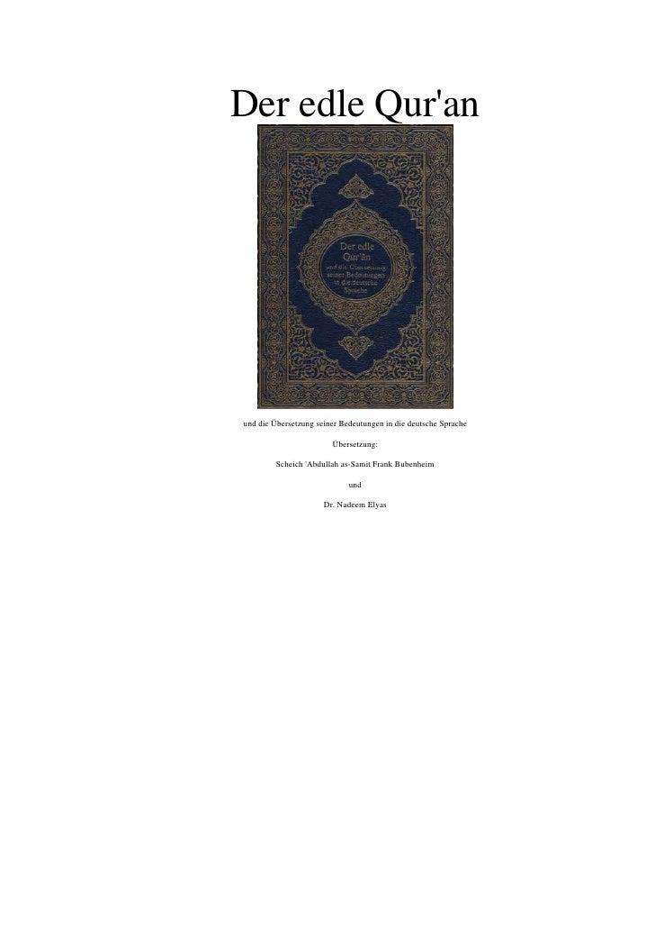 German Quran Without Original Arabic Text