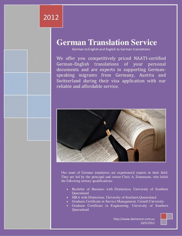 2012   German Translation Service              German to English and English to German translations   We offer you competi...