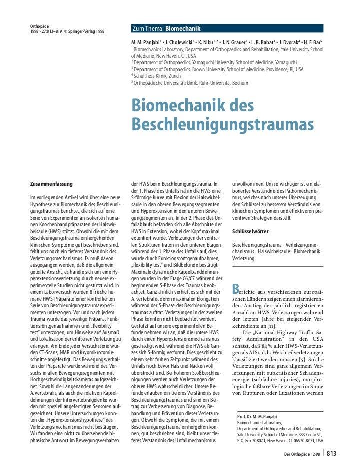Orthopäde1998 ´ 27:813±819  Springer-Verlag 1998         Zum Thema: Biomechanik                                           ...