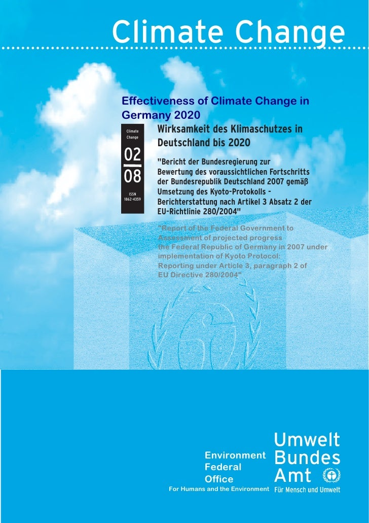 Climate Change Effectiveness of Climate Change in Germany 2020        Wirksamkeit des Klimaschutzes in  Climate  Change   ...