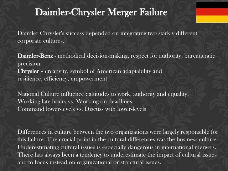daimler chrysler merger failure By 2009, daimler had completely divested itself of chrysler, which briefly  that  predated the merger, and cost savings that failed to materialize played  as  compared with the 1998 merger between daimler and chrysler, the.