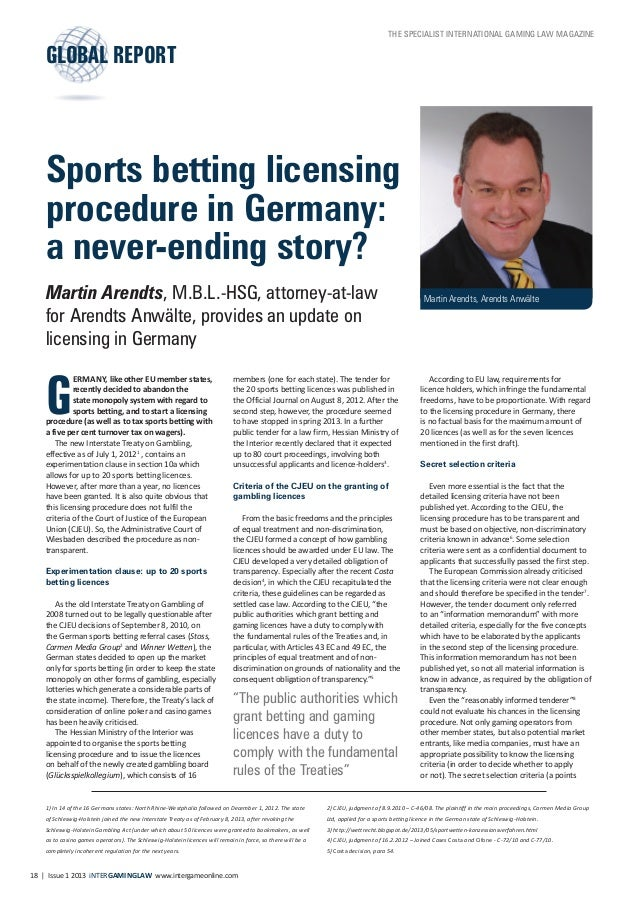 Arendts: Sports betting licensing procedure in Germany