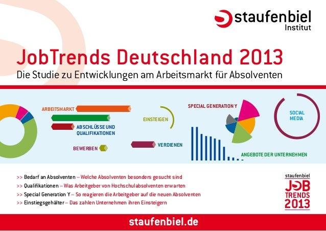 a+66+51+61+35+31+12 JobTrends Deutschland 2013 Die Studie zu Entwicklungen am Arbeitsmarkt für Absolventen staufenbiel.de ...