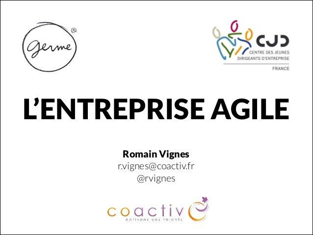 L'ENTREPRISE AGILE Romain Vignes r.vignes@coactiv.fr @rvignes