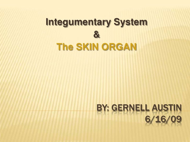 Integumentary System           &    The SKIN ORGAN              BY: GERNELL AUSTIN                    6/16/09