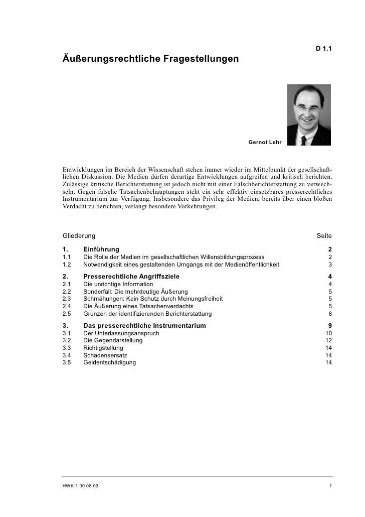 Gernot Lehr: Äußerungsrechtliche Fragestellungen