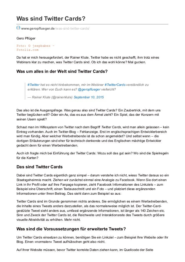 Was sind Twitter Cards? www.geropflueger.de/was-sind-twitter-cards/ Gero Pflüger Foto: © jeepbabes – Fotolia.com Da hat er...