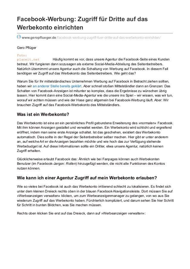 Facebook-Werbung: Zugriff für Dritte auf das Werbekonto einrichten www.geropflueger.de/facebook-werbung-zugriff-fuer-dritt...