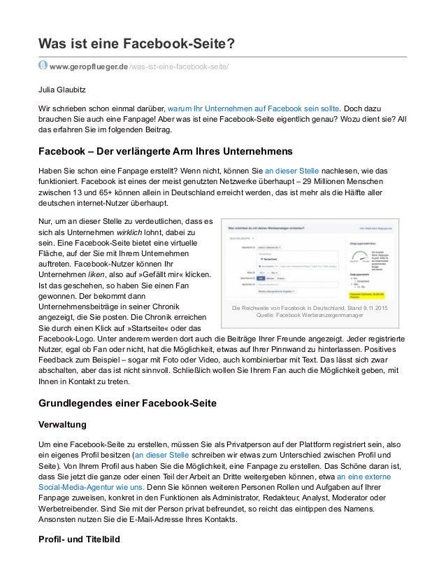 Die Reichweite von Facebook in Deutschland, Stand 9.11.2015 Quelle: Facebook Werbeanzeigenmanager Was ist eine Facebook-Se...