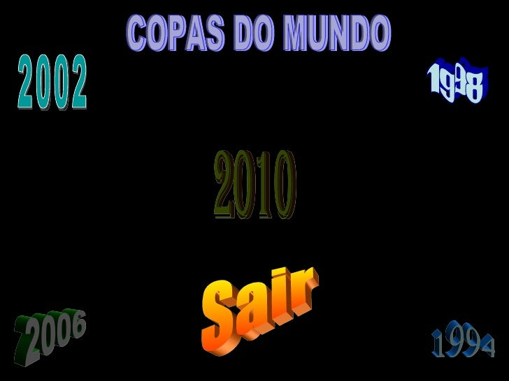 1994 1998 2010 2006 2002 COPAS DO MUNDO Sair